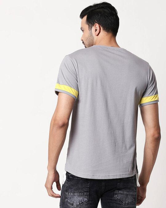 Shop Men's Plain Sport T-Shirt(Meteor Grey-Pineapple Yellow)-Design