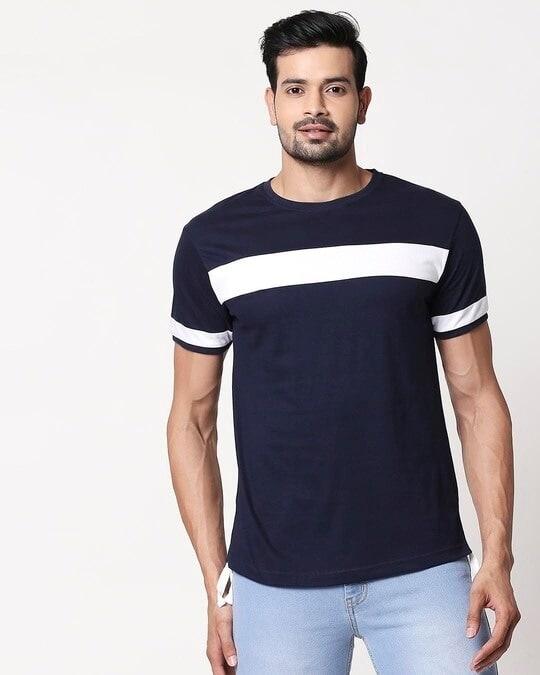 Shop Men's Plain Sport T-Shirt(Navy Blue-White)-Front