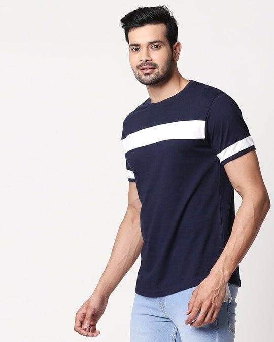 Shop Men's Plain Sport T-Shirt(Navy Blue-White)-Back