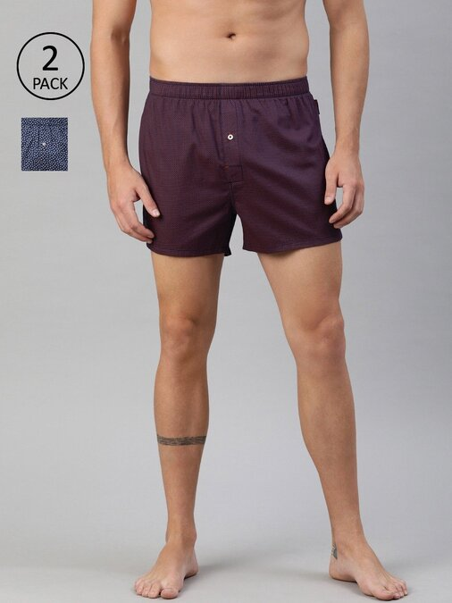 Shop Men's Prined Boxers ( Pack Of 2 )-Front