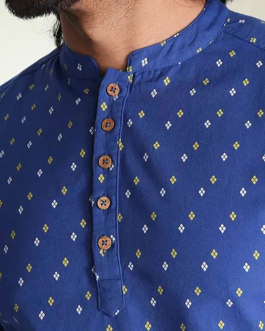Shop Men's Printed Blue Long Kurta