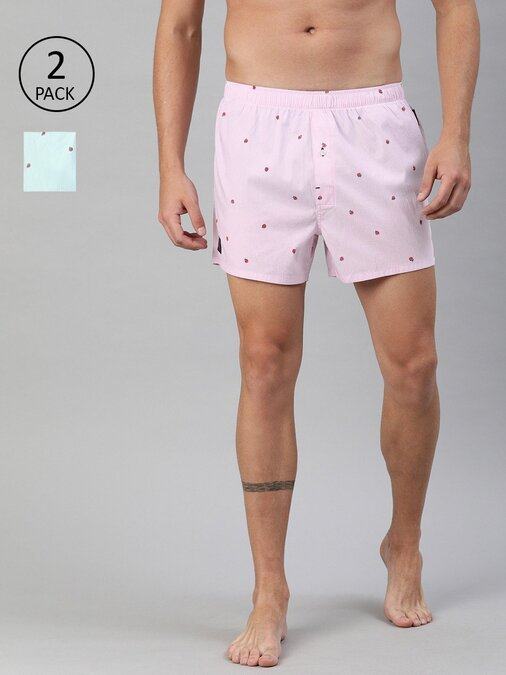 Shop Men's Printed Boxers Woven ( Pack Of 2 )-Front