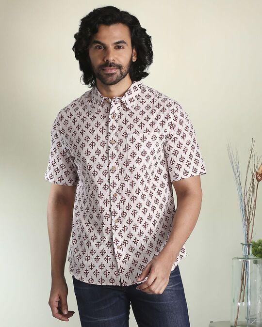 Shop Men's Printed Ethnic Half Sleeves White Shirt-Front