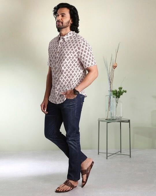 Shop Men's Printed Ethnic Half Sleeves White Shirt-Back
