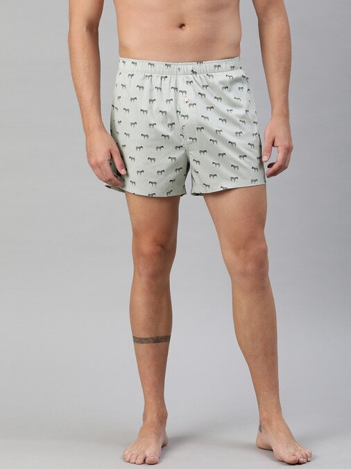 Shop Men's Printed Woven Boxers ( Pack Of 2 )-Back
