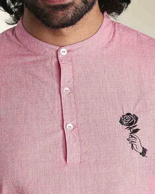 Shop Men's Red & White Dobby Gulabo Embroidered Kurta-Back