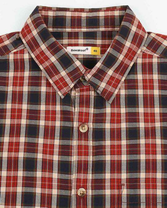 Shop Men's Red Slim Fit Casual Check Shirt
