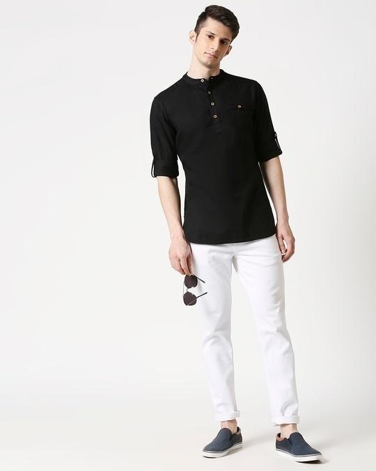 Shop Men's Relaxed Fit Black Solid Short Kurta-Full