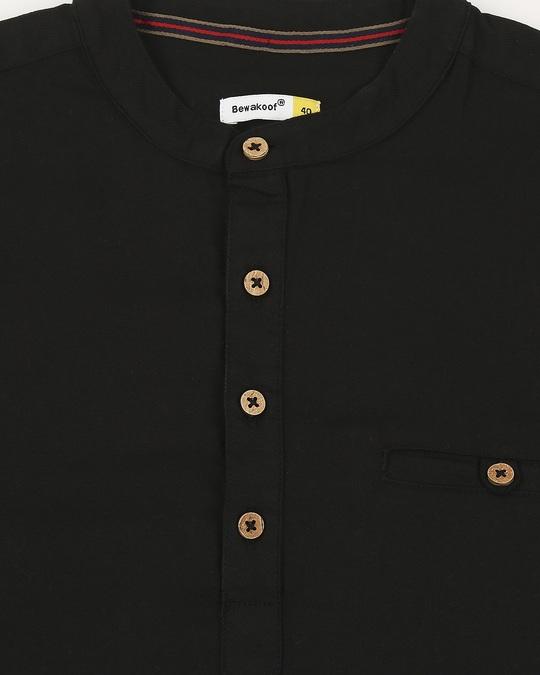 Shop Men's Relaxed Fit Black Solid Short Kurta