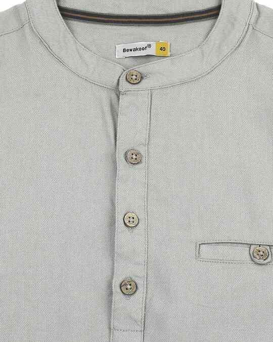 Shop Men's Relaxed Fit Grey Solid Short Kurta