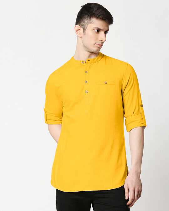 Shop Men's Relaxed Fit Mustard Solid Short Kurta-Front