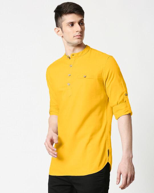 Shop Men's Relaxed Fit Mustard Solid Short Kurta-Design