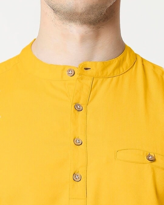 Shop Men's Relaxed Fit Mustard Solid Short Kurta