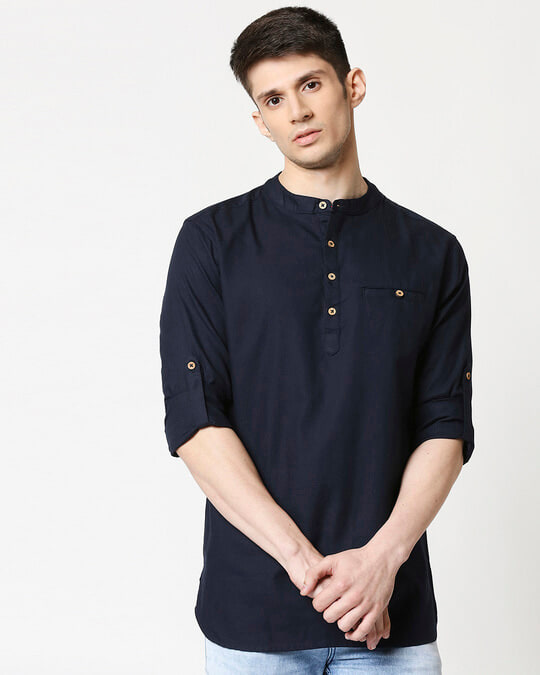 Shop Men's Relaxed Fit Navy Solid Short Kurta-Front