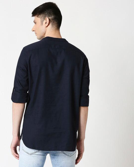 Shop Men's Relaxed Fit Navy Solid Short Kurta-Design