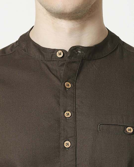 Shop Men's Relaxed Fit Olive Solid Short Kurta