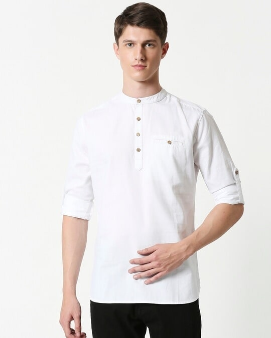 Shop Men's Relaxed Fit White Solid Short Kurta-Back
