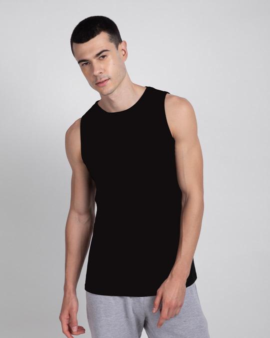 Shop Men's Round Neck Vest Pack of 2 (Black - Grey)-Design
