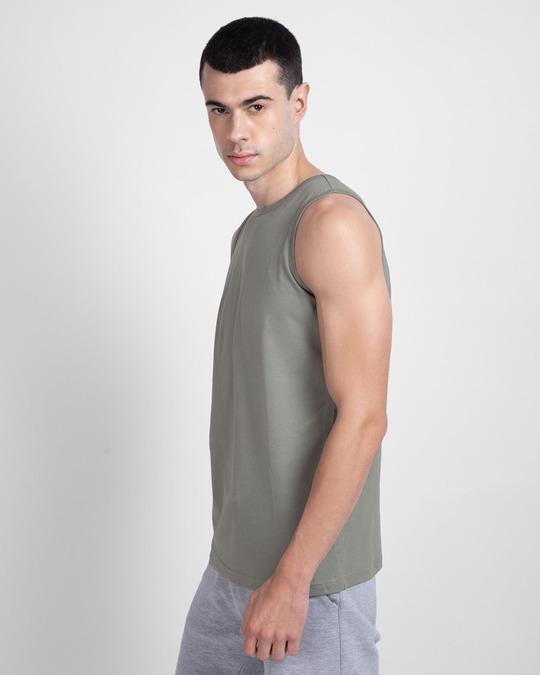 Shop Men's Round Neck Vest Pack of 2 (Black - Grey)-Full