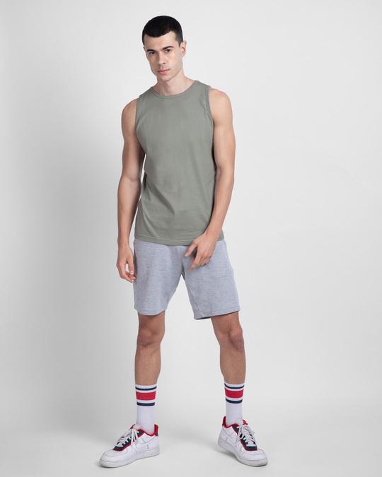 Shop Men's Round Neck Vest Pack of 2 (White & Meteor Grey)