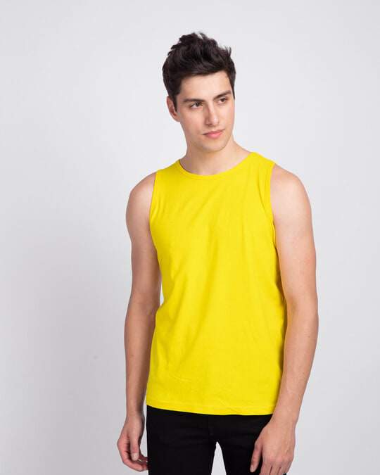 Shop Men's Round Neck Vest Pack of 2 (Pineapple Yellow & White)-Back