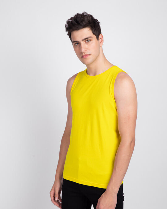 Shop Men's Round Neck Vest Pack of 2 (Pineapple Yellow & White)