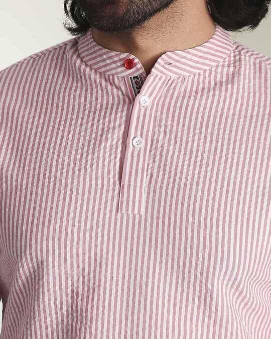 Shop Men's Seer Sucker Red & White Stripe Short Kurta-Back