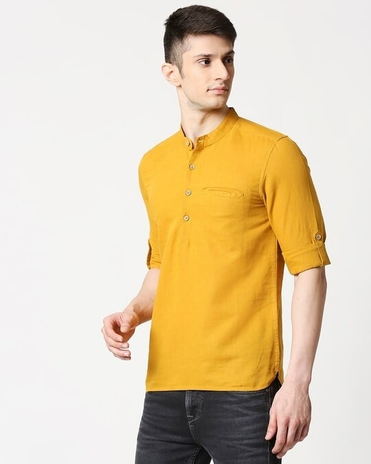 Shop Men's Cotton Solid Yellow Kurta-Design