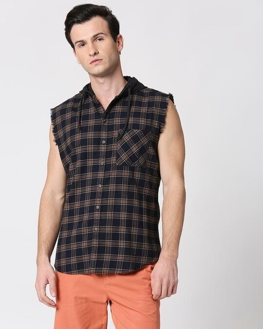 Shop Mens Sleeveless Checks Hoodie Shirt-Back