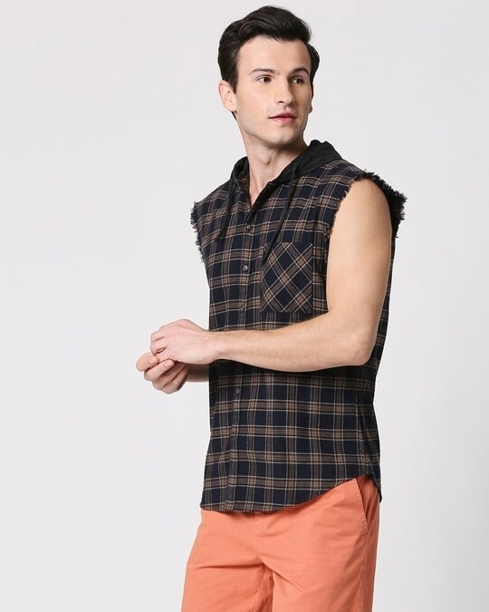 Shop Mens Sleeveless Checks Hoodie Shirt-Full