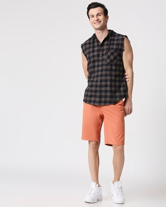 Shop Mens Sleeveless Checks Hoodie Shirt