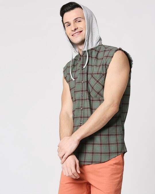 Shop Mens Sleeveless Checks Hoodie Shirt-Front