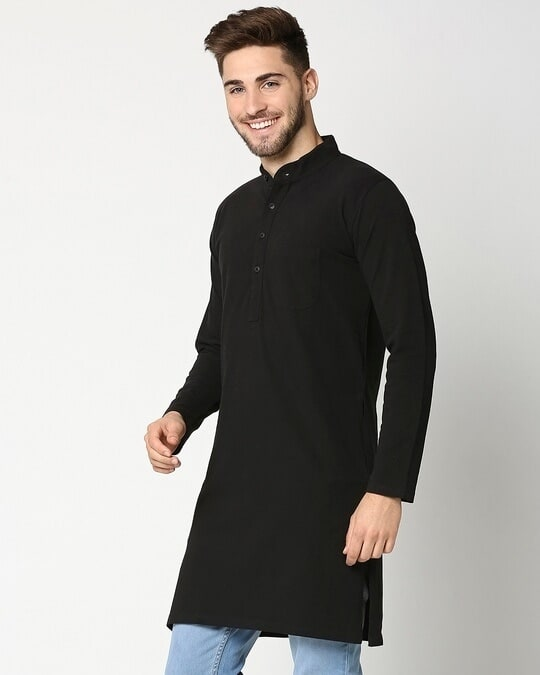 Shop Men's Solid Knit Black Kurta-Design