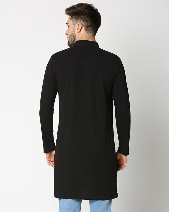Shop Men's Solid Knit Black Kurta-Full