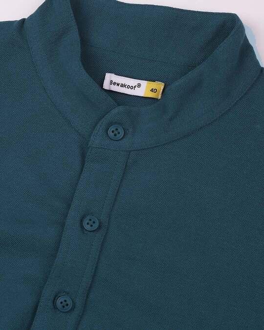 Shop Men's Solid Cotton Mid Kurta-Green