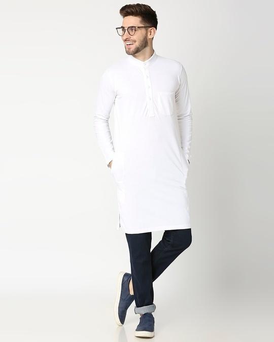 Shop Men's Solid Knit White Kurta