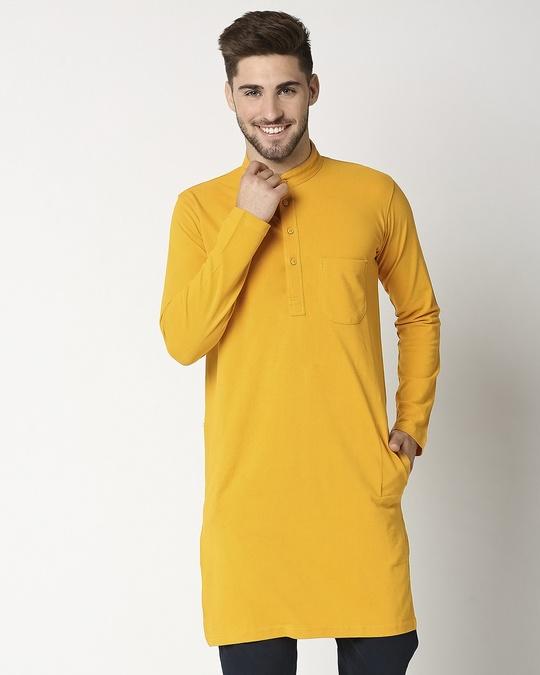 Shop Men's Solid Knit Yellow Kurta-Back