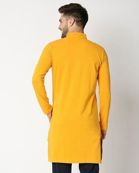 Shop Men's Solid Knit Yellow Kurta-Full