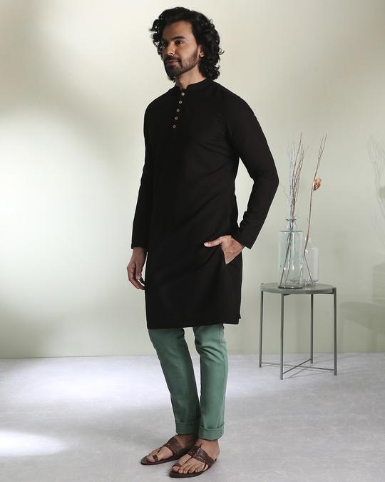 Shop Men's Solid Black Long Kurta-Design