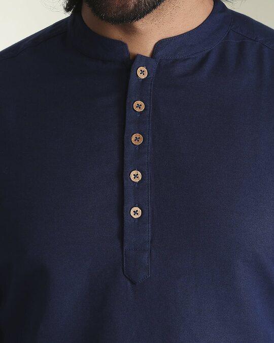 Shop Men's Solid Navy Long Kurta