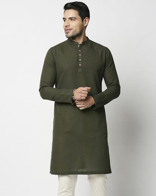 Shop Men's Solid Olive Long Kurta-Design