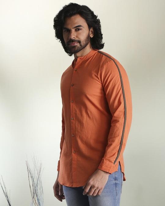 Shop Men's Solid Orange Tape Shirt-Design