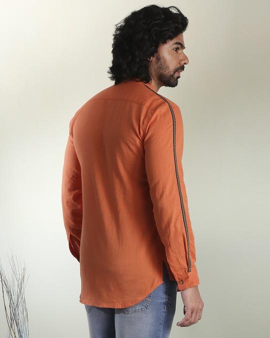 Shop Men's Solid Orange Tape Shirt-Full