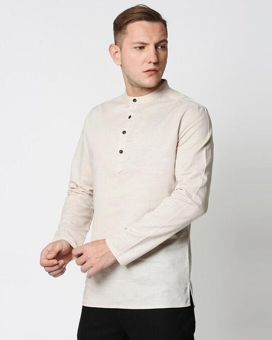 Shop Men's Solid Relaxed Short Mandarin Beige Kurta-Design