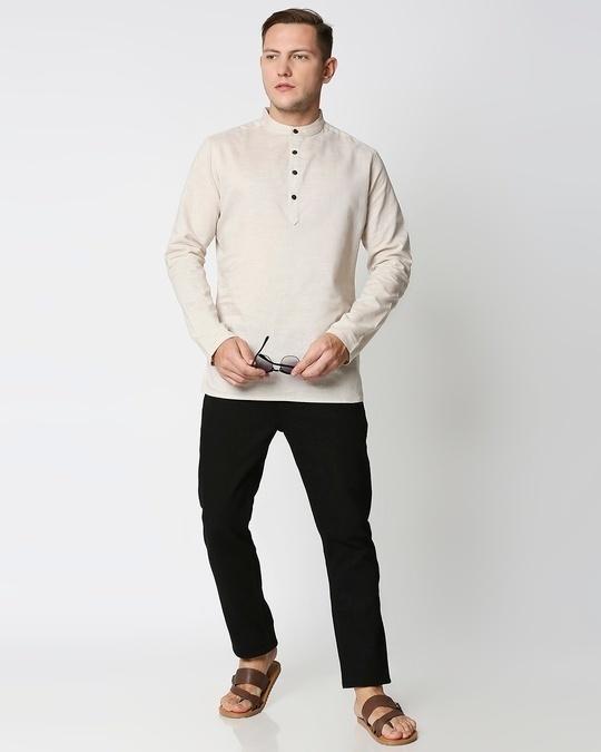 Shop Men's Solid Relaxed Short Mandarin Beige Kurta
