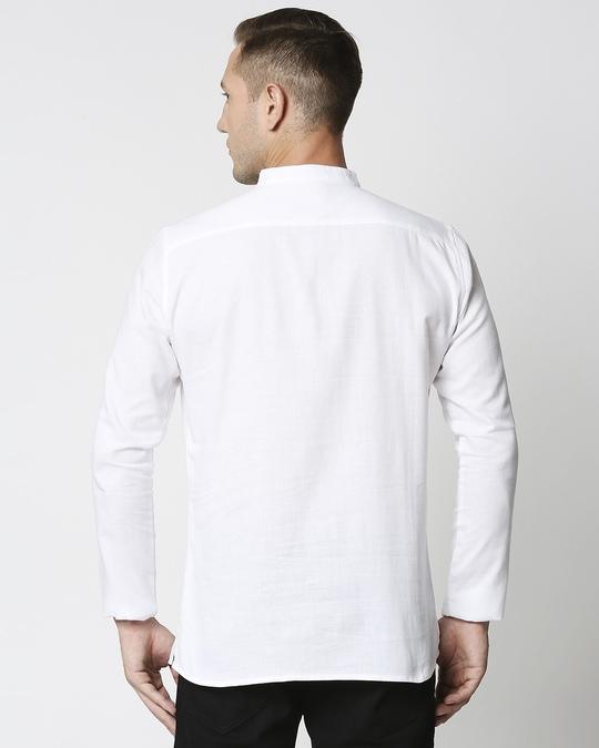 Shop Men's Solid Relaxed Short Mandarin White Kurta-Full