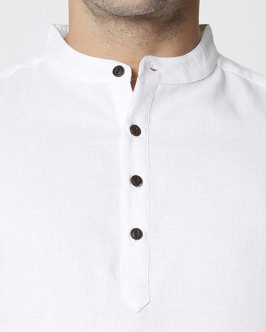 Shop Men's Solid Relaxed Short Mandarin White Kurta