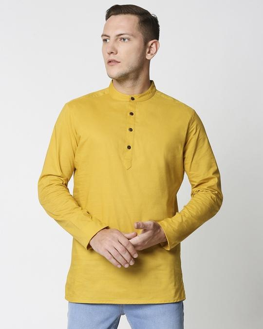 Shop Men's Solid Relaxed Short Mandarin Yellow Kurta-Back