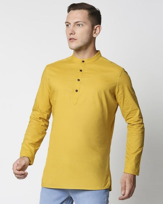 Shop Men's Solid Relaxed Short Mandarin Yellow Kurta-Design