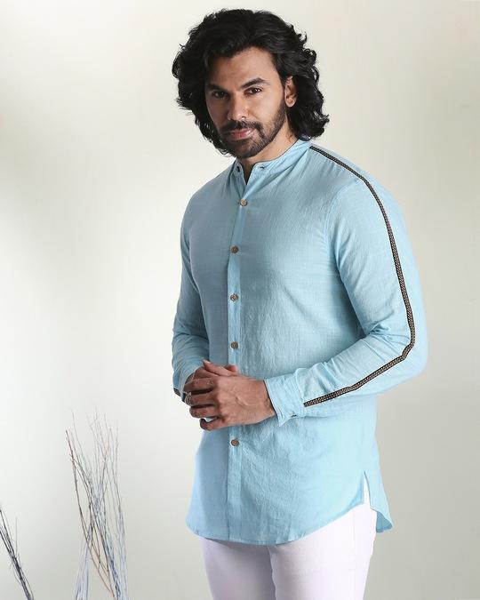 Shop Men's Solid Sky Blue Tape Shirt-Design